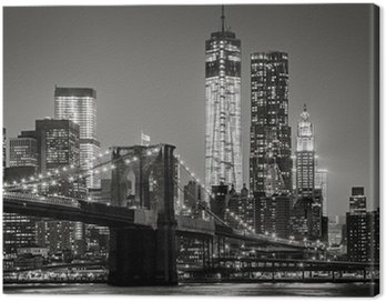 Quadro em Tela New York by night. Brooklyn Bridge, Lower Manhattan – Black an