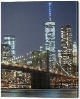 Quadro em Tela O horizonte de Nova Iorque w Brooklyn Bridge