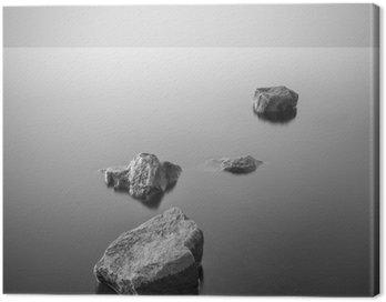 Quadro em Tela Paisagem enevoada minimalista. Preto e branco.