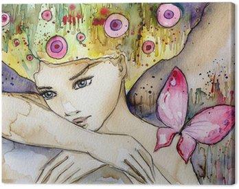 Quadro em Tela piękna dziewczyna z motylem