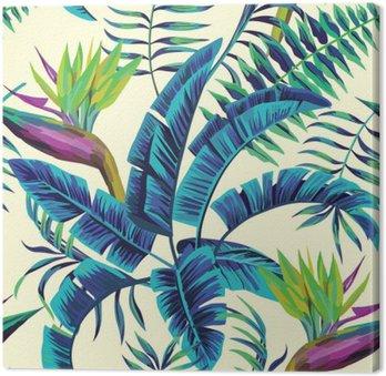 Quadro em Tela Pintura exótica tropical fundo transparente