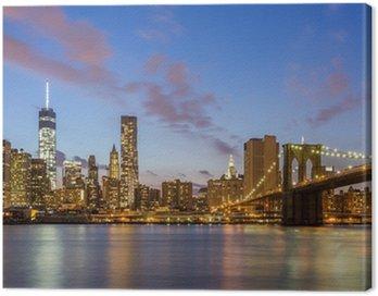 Quadro em Tela Ponte de Brooklyn e centro de Nova York à noite
