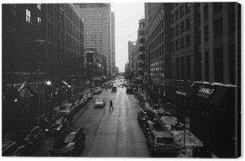 Quadro em Tela Preto e Branco Ruas de Chicago