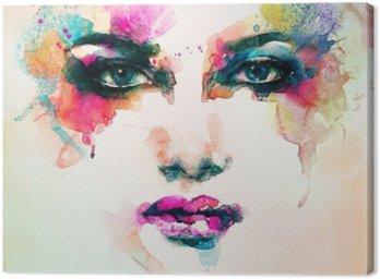 Quadro em Tela Retrato da mulher. aquarela abstrata. fundo moda