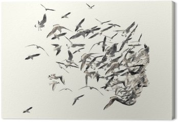 Quadro em Tela Retrato dupla exposição de mulheres jovens e gaivotas.