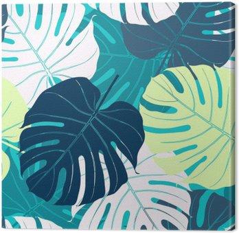 Quadro em Tela Seamless com folhas de palmeira