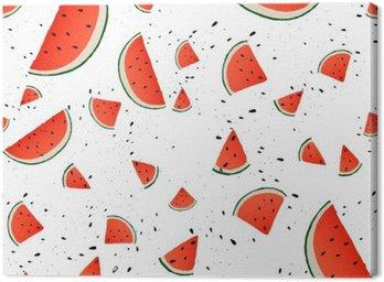 Quadro em Tela Seamless de fatias da melancia. Fundo do vetor do verão com mão fatias desenhadas de melancia. Vetor.