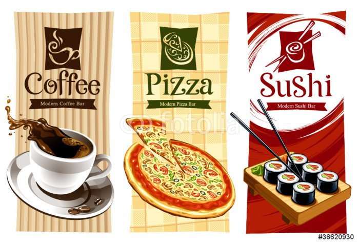 Quadro em Tela Template designs of food banners. Coffee, pizza and sushi. - PI-31