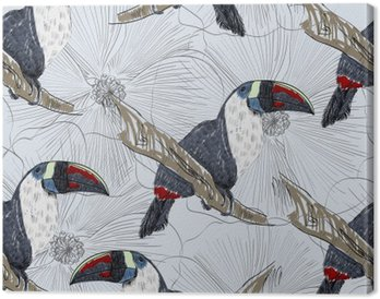 Quadro em Tela Vector o esboço de um papagaio com flores. Ilustração desenhada mão