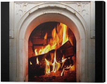 Quadro em Tela Vintage fireplace with burning logs. Renewable energy concept.
