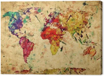 Quadro em Tela Vintage world map. Colorful paint, watercolor on grunge paper