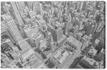Quadro em Tela Vista aérea tonificada preto e branco de Manhattan, Nova York.