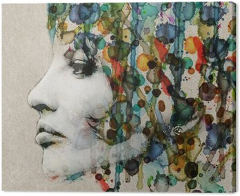 Quadro em Tela Watercolor female profile