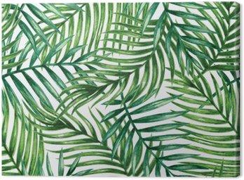 Quadro em Tela Watercolor tropical palm leaves seamless pattern. Vector illustration.