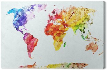 Quadro em Tela Watercolor world map