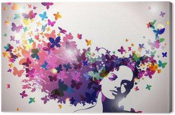 Quadro em Tela Woman with a butterflies in hair.