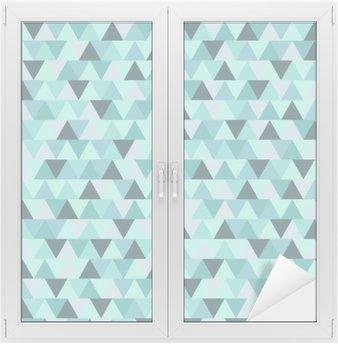 Raamsticker Abstract Kerst driehoek patroon, blauw grijs geometrische winter vakantie achtergrond