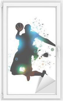 Raamsticker Abstracte basketbalspeler