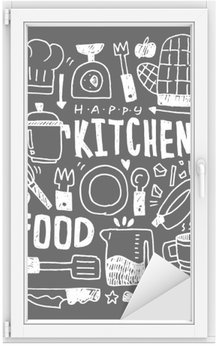 Raamsticker Keuken elementen doodles hand getekende lijn pictogram, eps10