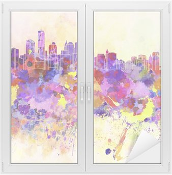 Raamsticker New York skyline in aquarel achtergrond