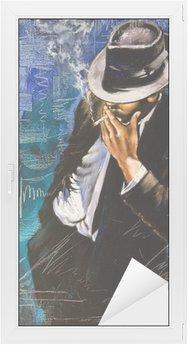 Raamsticker Portret van de man met een sigaret