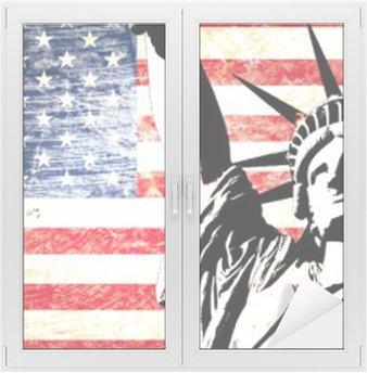 Raamsticker Usa vlag standbeeld van vrijheid