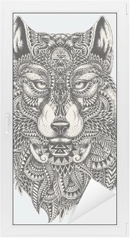 Raamsticker Zeer gedetailleerde abstracte wolf illustratie