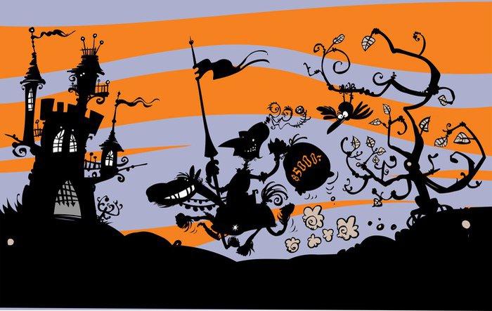 Fototapeta Vinylowa Rycerz Cartoon konno. Rysunek sylwetka. - Sztuka i twórczość