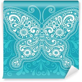 Samolepicí Fototapeta Butterfly Henna Paisley Doodle vektorové ilustrace