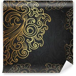 Samolepicí Fototapeta Černá karta se zlatým ornamentem