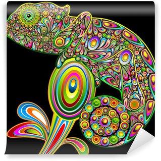 Samolepicí Fototapeta Chameleon Psychedelic Art Design-Camaleonte Psichedelico-Vector