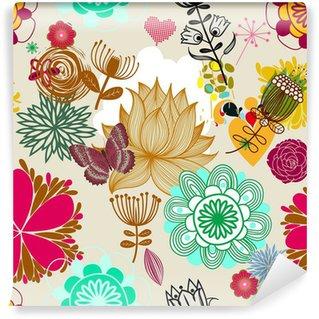 Samolepicí Fototapeta Floral seamless pattern v retro stylu