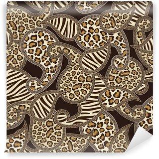 Samolepicí Fototapeta Paisley styl bezešvé pozadí se vzorem zvířecí kůže