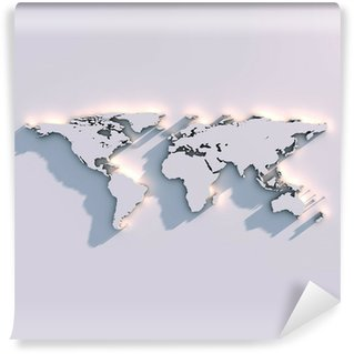 Samolepicí Fototapeta Relief mapa světa na zeď