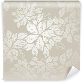 Samolepicí Fototapeta Seamless stříbrná listy tapety