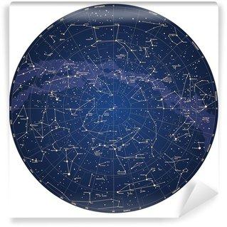 Samolepicí Fototapeta Vysoce detailní sky mapa severní polokouli se jmény