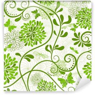 Samolepicí Fototapeta Zelená-bílá květinovým vzorem