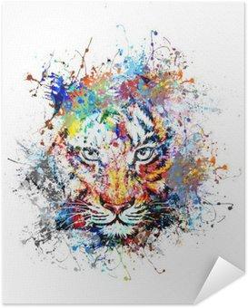 Samolepicí Plakát Яркий фон с тигром