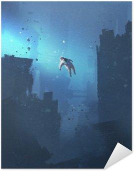 Samolepicí Plakát Astronaut plovoucí v opuštěném městě, tajemný prostor, ilustrační natírání