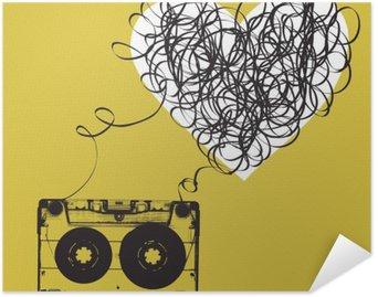 Samolepicí Plakát Audiokazet s zamotaný páskou. Haert tvarované