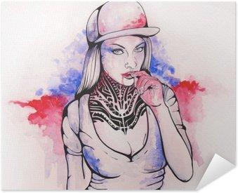 Samolepicí Plakát Dívka v čepici a tetování
