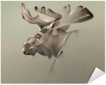 Samolepicí Plakát Elk portrét vintage grafika