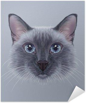 Samolepicí Plakát Ilustrační portrét thajského Cat. Hezký modrý bod Tradiční siamská kočka.