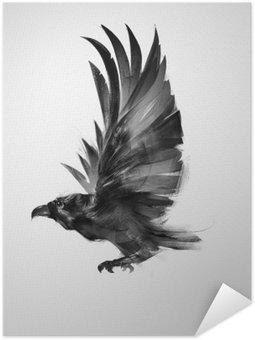 Samolepicí Plakát Izolovaný graficky letící pták černá vrána