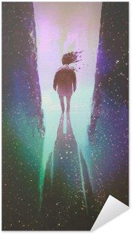 Samolepicí Plakát Muž vyšla z tmavého prostoru na světlo, ilustrační natírání