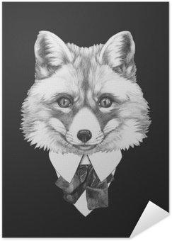 Samolepicí Plakát Portrét Fox v obleku. Ručně tažené ilustrace.
