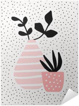 Samolepicí Plakát Růžová Váza a Pot s rostlinami