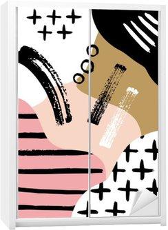 Schrankaufkleber Abstrakt skandinavisch Zusammensetzung in schwarz, weiß und Pastellrosa.