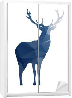 Schrankaufkleber Deer Silhouette von geometrischen Formen