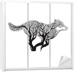 Schrankaufkleber Wolf Run Silhouette Doppelbelichtungsvermischungs Baum Zeichnung Tätowierung Vektor